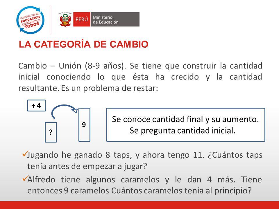 LA CATEGORÍA DE CAMBIO Cambio – Unión (8-9 años).