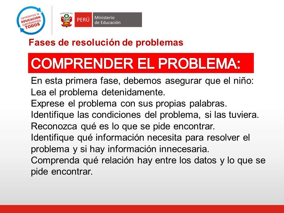Fases de resolución de problemas En esta primera fase, debemos asegurar que el niño: Lea el problema detenidamente.