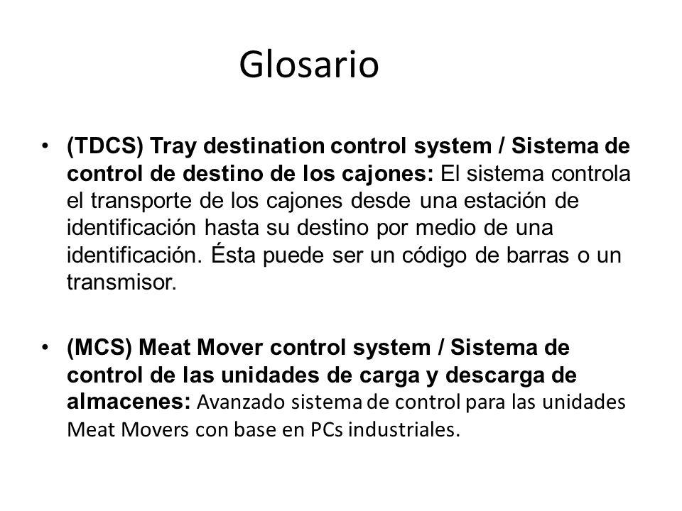 (TDCS) Tray destination control system / Sistema de control de destino de los cajones: El sistema controla el transporte de los cajones desde una esta