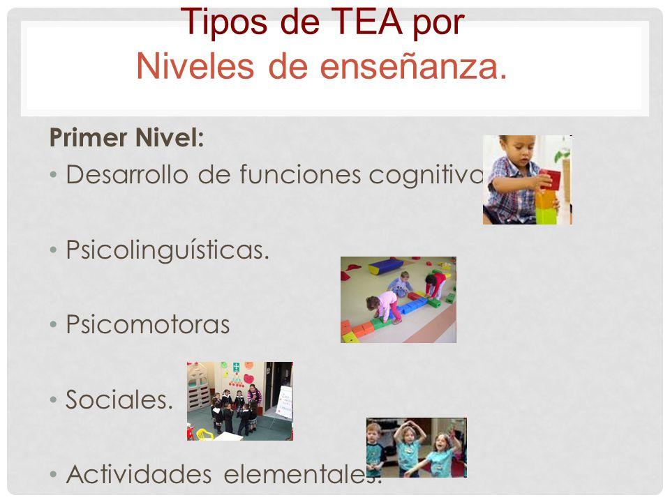 Primer Nivel: Desarrollo de funciones cognitivas. Psicolinguísticas. Psicomotoras Sociales. Actividades elementales. Tipos de TEA por Niveles de enseñ