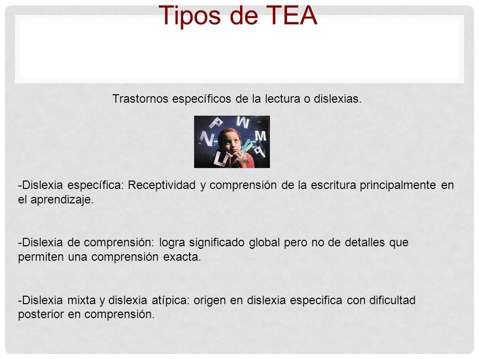 Tipos de TEA Trastornos específicos de la lectura o dislexias. -Dislexia específica: Receptividad y comprensión de la escritura principalmente en el a