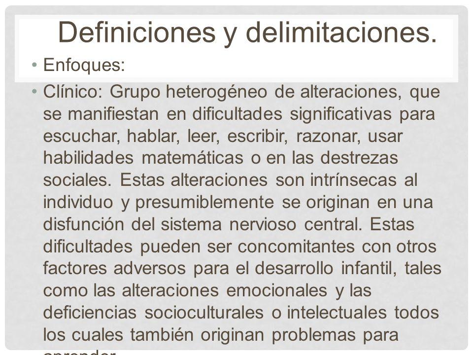 Enfoques: Clínico: Grupo heterogéneo de alteraciones, que se manifiestan en dificultades significativas para escuchar, hablar, leer, escribir, razonar