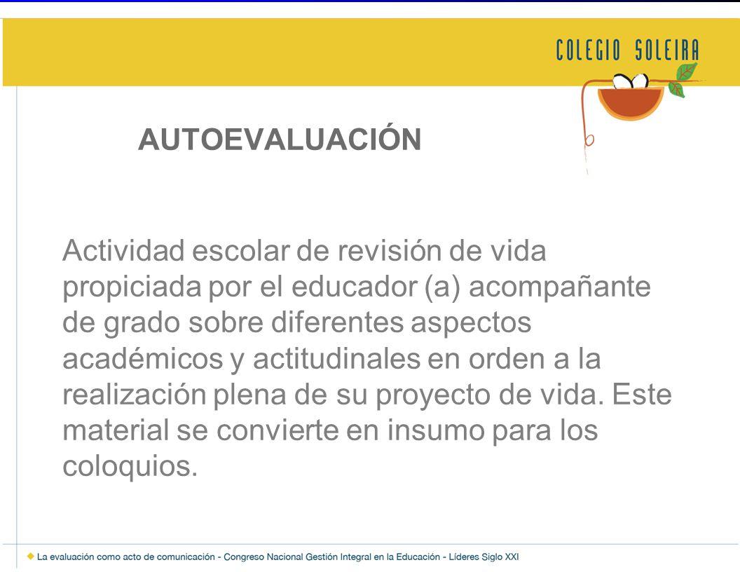 AUTOEVALUACIÓN Actividad escolar de revisión de vida propiciada por el educador (a) acompañante de grado sobre diferentes aspectos académicos y actitu