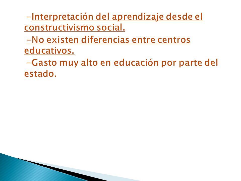 -Interpretación del aprendizaje desde el constructivismo social. -No existen diferencias entre centros educativos. -Gasto muy alto en educación por pa