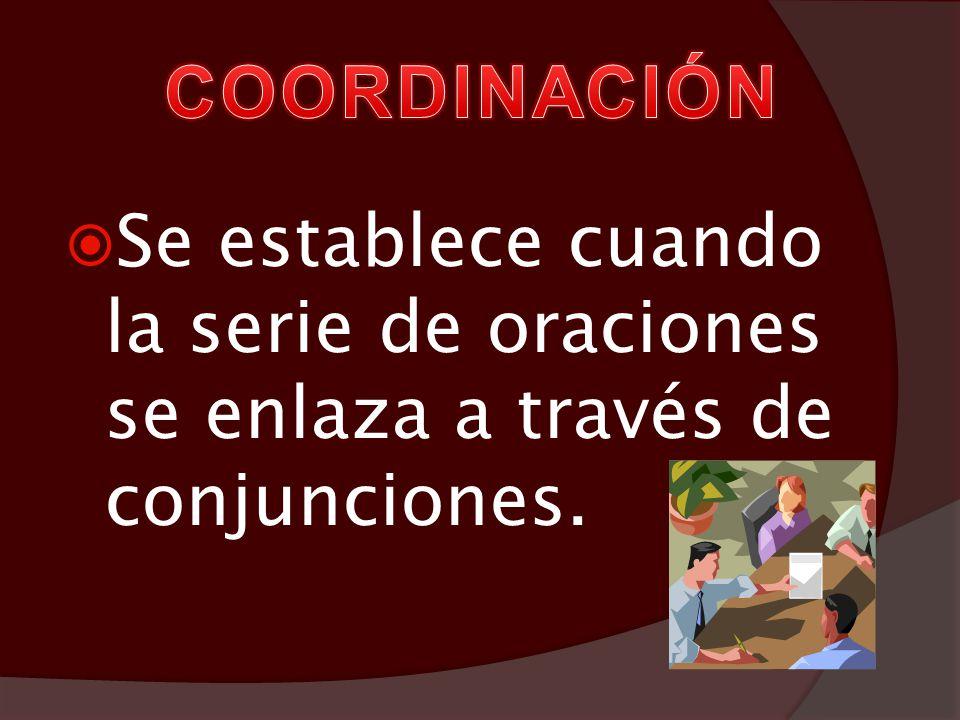 Coordinación Ejemplo: (Camina) y (piensa). v.c. v.c. Yuxtaposición Ejemplo: (Camina), (piensa). v.c. v.c.