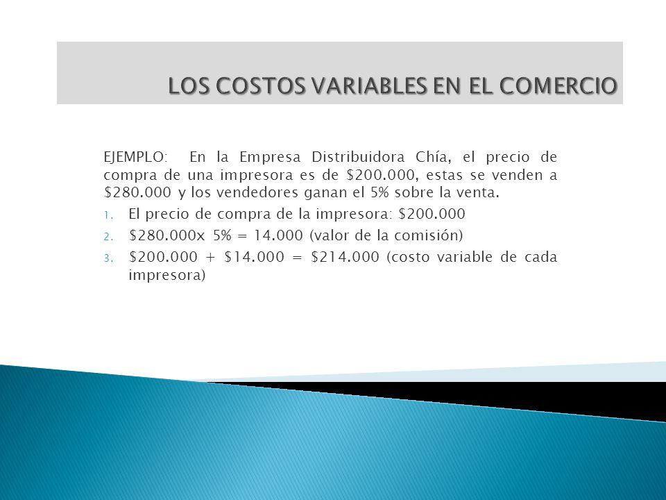 EJEMPLO: En la Empresa Distribuidora Chía, el precio de compra de una impresora es de $200.000, estas se venden a $280.000 y los vendedores ganan el 5