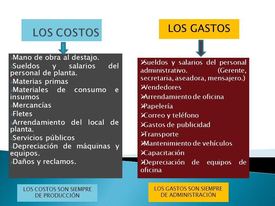 LOS COSTOS VARIABLES Se llaman variables porque su valor aumenta o disminuye cada vez que la producción y las ventas aumentan o disminuyen.