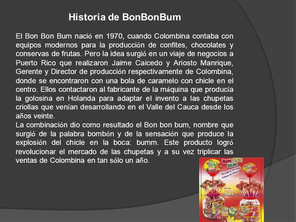 Historia de BonBonBum El Bon Bon Bum naci ó en 1970, cuando Colombina contaba con equipos modernos para la producci ó n de confites, chocolates y cons