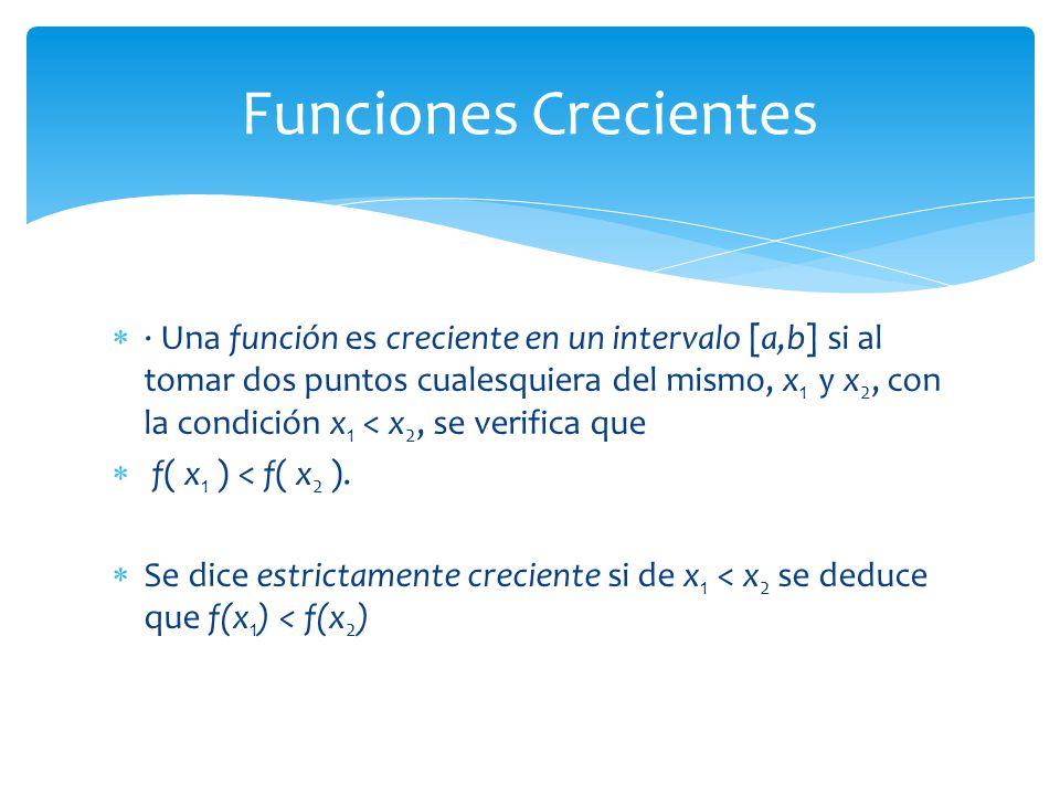 · Una función es creciente en un intervalo [a,b] si al tomar dos puntos cualesquiera del mismo, x 1 y x 2, con la condición x 1 < x 2, se verifica que