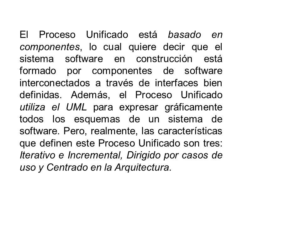 El Proceso Unificado está basado en componentes, lo cual quiere decir que el sistema software en construcción está formado por componentes de software