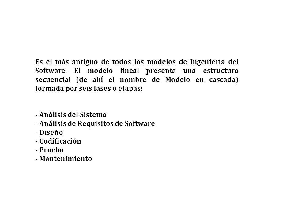 Es el más antiguo de todos los modelos de Ingeniería del Software. El modelo lineal presenta una estructura secuencial (de ahí el nombre de Modelo en