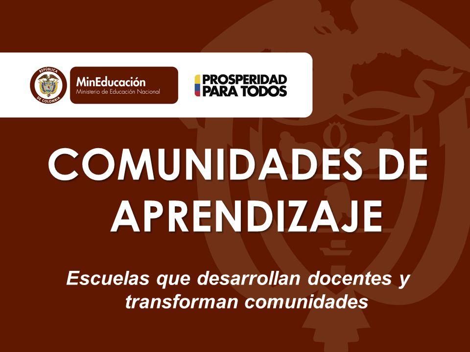 COMUNIDADES DE APRENDIZAJE Escuelas que desarrollan docentes y transforman comunidades