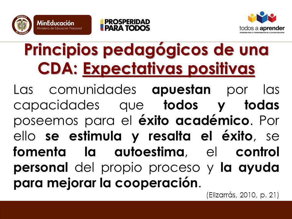 Principios pedagógicos de una CDA: Expectativas positivas Las comunidades apuestan por las capacidades que todos y todas poseemos para el éxito académico.