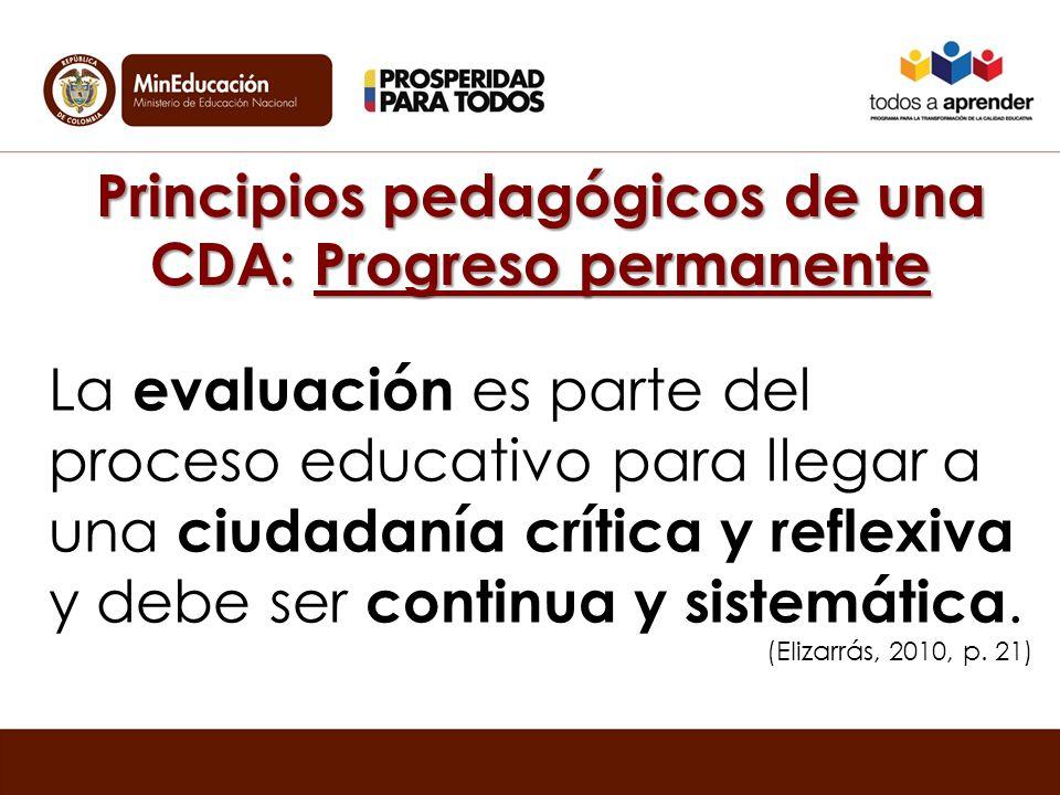 Principios pedagógicos de una CDA: Progreso permanente La evaluación es parte del proceso educativo para llegar a una ciudadanía crítica y reflexiva y debe ser continua y sistemática.