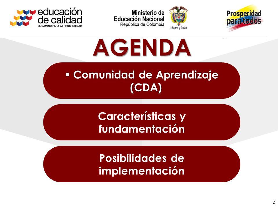 Comunidad de Aprendizaje (CDA) Comunidad de Aprendizaje (CDA) Posibilidades de implementación Características y fundamentación 2 AGENDA