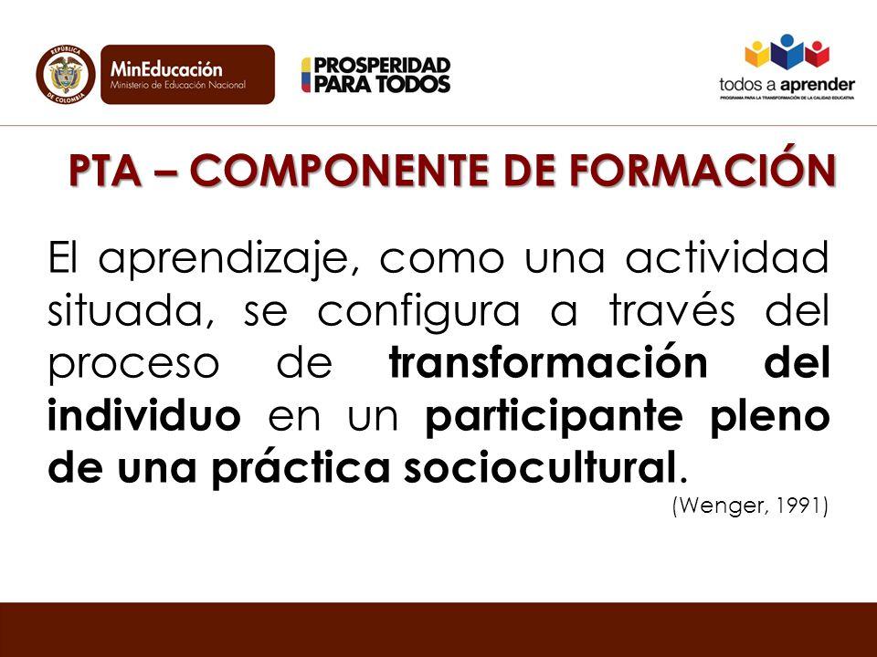PTA – COMPONENTE DE FORMACIÓN El aprendizaje, como una actividad situada, se configura a través del proceso de transformación del individuo en un participante pleno de una práctica sociocultural.