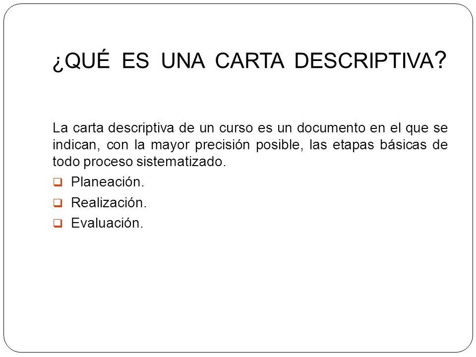 ¿QUÉ ES UNA CARTA DESCRIPTIVA ? La carta descriptiva de un curso es un documento en el que se indican, con la mayor precisión posible, las etapas bási