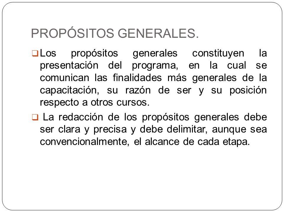 PROPÓSITOS GENERALES. Los propósitos generales constituyen la presentación del programa, en la cual se comunican las finalidades más generales de la c