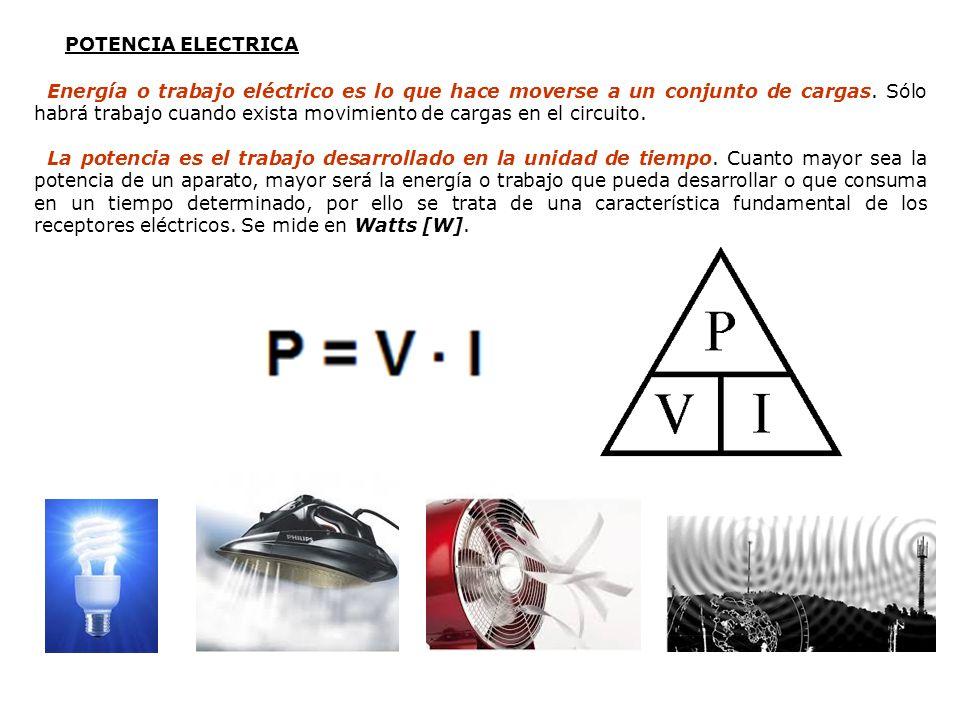 POTENCIA ELECTRICA Energía o trabajo eléctrico es lo que hace moverse a un conjunto de cargas. Sólo habrá trabajo cuando exista movimiento de cargas e