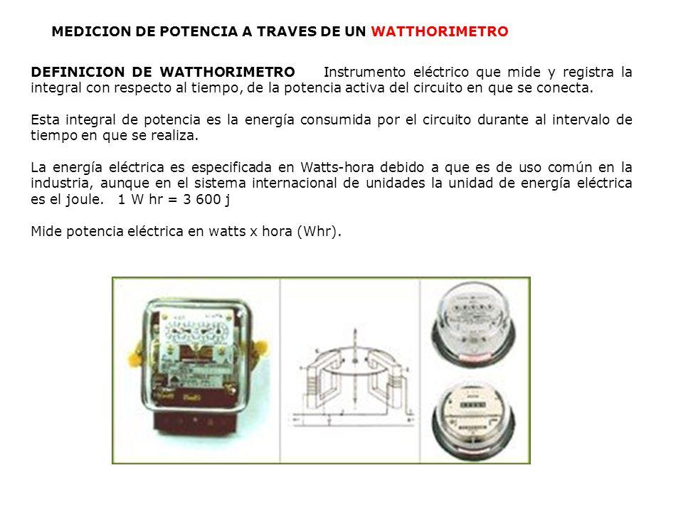 MEDICION DE POTENCIA A TRAVES DE UN WATTHORIMETRO DEFINICION DE WATTHORIMETRO Instrumento eléctrico que mide y registra la integral con respecto al ti