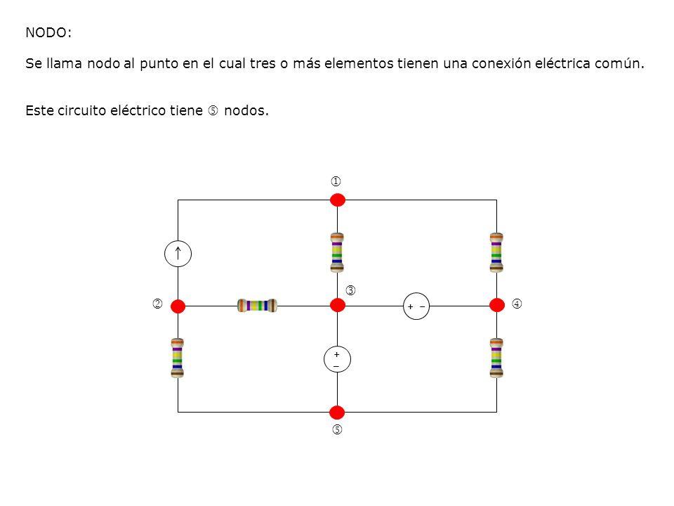 +_+_ + NODO: Se llama nodo al punto en el cual tres o más elementos tienen una conexión eléctrica común. Este circuito eléctrico tiene nodos.