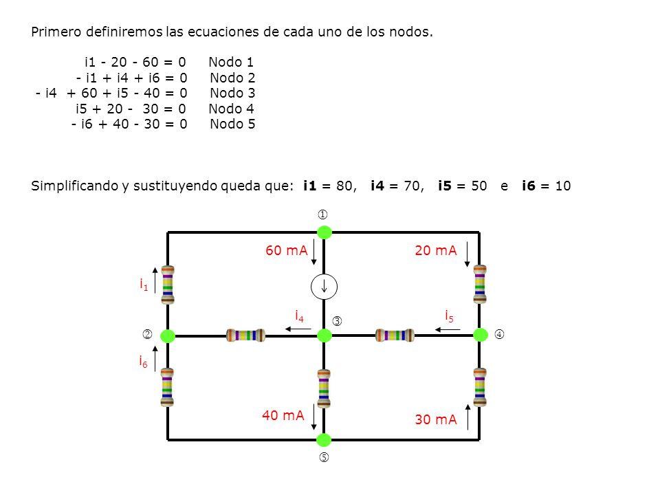 Primero definiremos las ecuaciones de cada uno de los nodos. i1 - 20 - 60 = 0 Nodo 1 - i1 + i4 + i6 = 0 Nodo 2 - i4 + 60 + i5 - 40 = 0 Nodo 3 i5 + 20