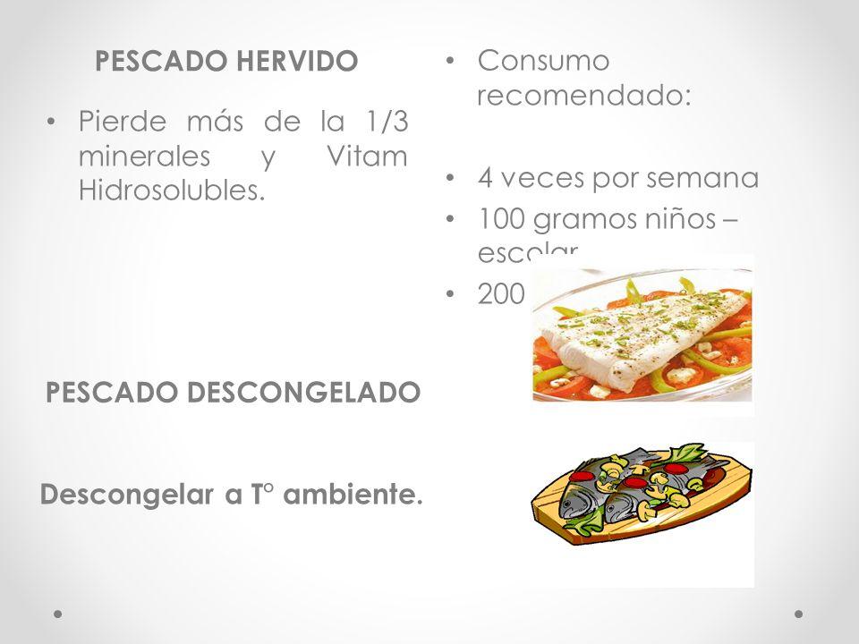 PESCADO HERVIDO PESCADO DESCONGELADO Pierde más de la 1/3 minerales y Vitam Hidrosolubles.