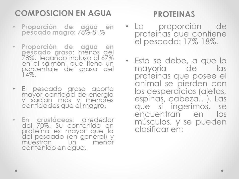 COMPOSICION EN AGUA PROTEINAS La proporción de proteínas que contiene el pescado: 17%-18%.