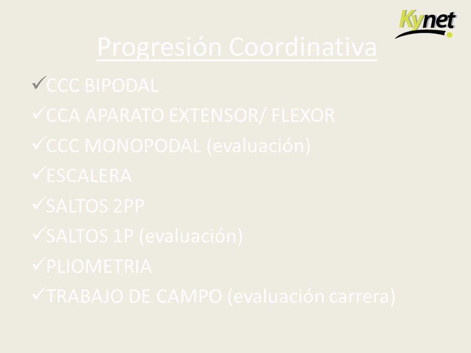 Progresión Coordinativa CCC BIPODAL CCA APARATO EXTENSOR/ FLEXOR CCC MONOPODAL (evaluación) ESCALERA SALTOS 2PP SALTOS 1P (evaluación) PLIOMETRIA TRAB
