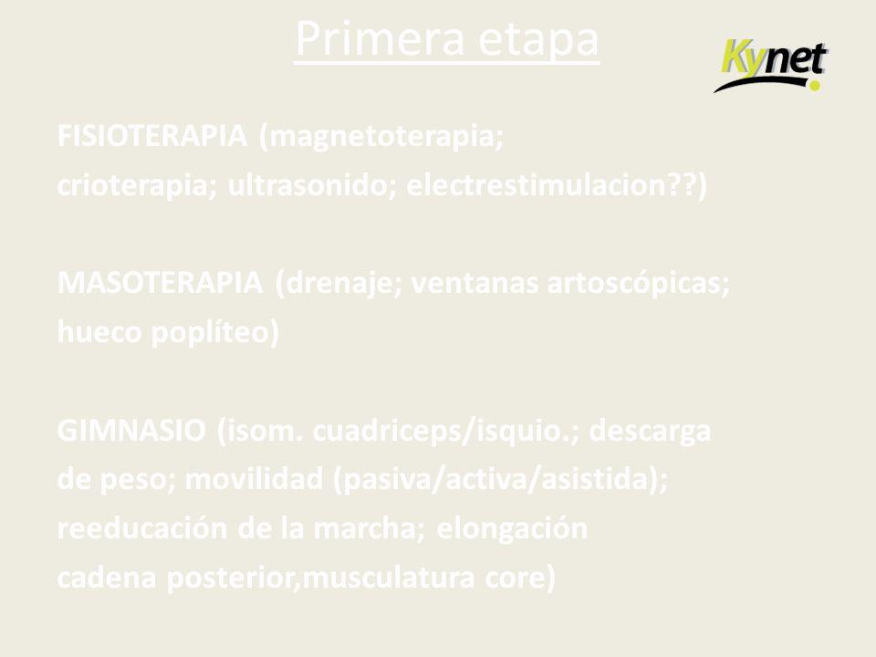 Primera etapa FISIOTERAPIA (magnetoterapia; crioterapia; ultrasonido; electrestimulacion??) MASOTERAPIA (drenaje; ventanas artoscópicas; hueco poplíte