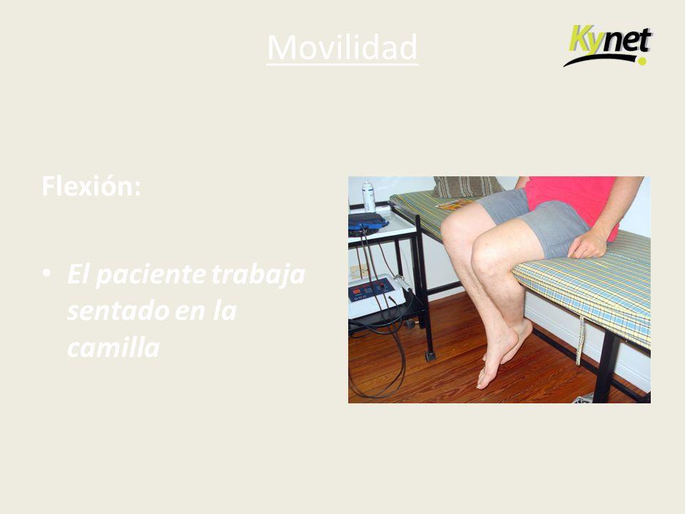 Movilidad Flexión: El paciente trabaja sentado en la camilla