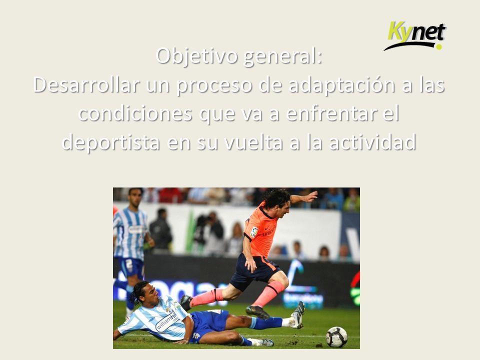 Objetivo general: Desarrollar un proceso de adaptación a las condiciones que va a enfrentar el deportista en su vuelta a la actividad