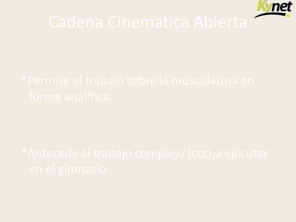 Cadena Cinematica Abierta *Permite el trabajo sobre la musculatura en forma analítica. *Antecede al trabajo complejo (ccc),a ejecutar en el gimnasio