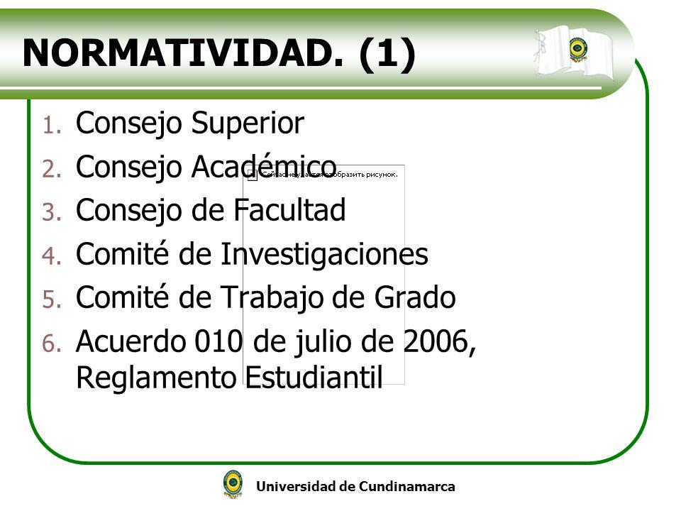 Universidad de Cundinamarca NORMATIVIDAD. (1) 1. Consejo Superior 2. Consejo Académico 3. Consejo de Facultad 4. Comité de Investigaciones 5. Comité d