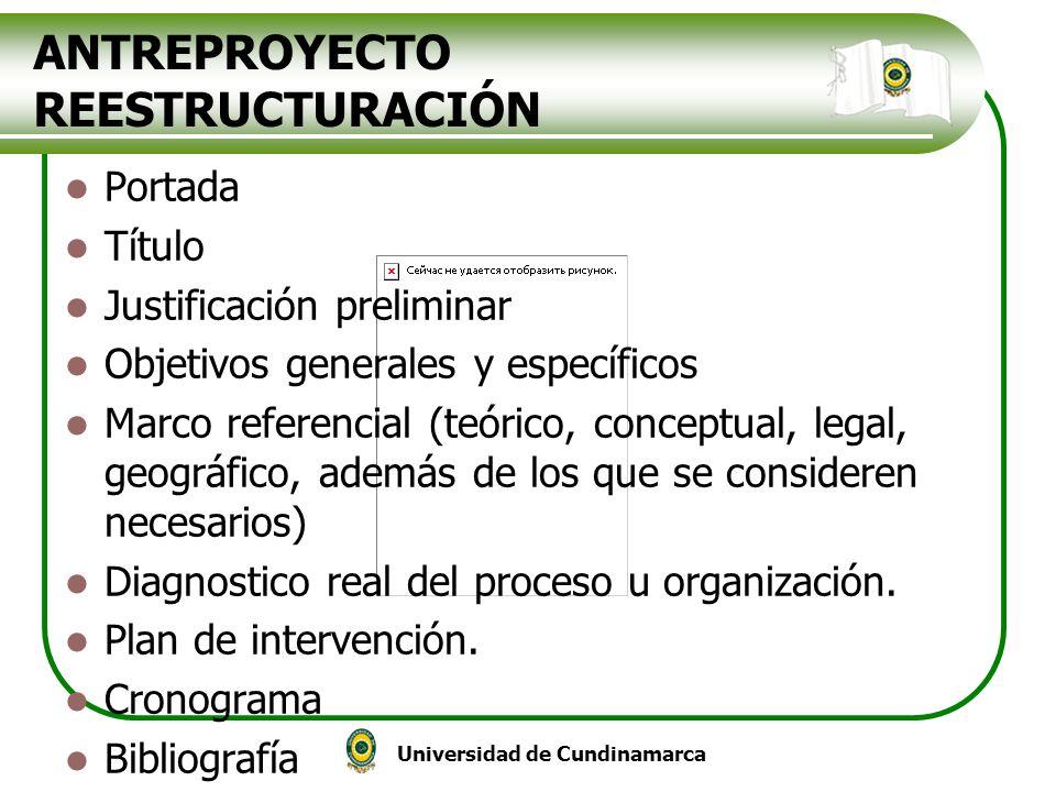 Universidad de Cundinamarca ANTREPROYECTO REESTRUCTURACIÓN Portada Título Justificación preliminar Objetivos generales y específicos Marco referencial
