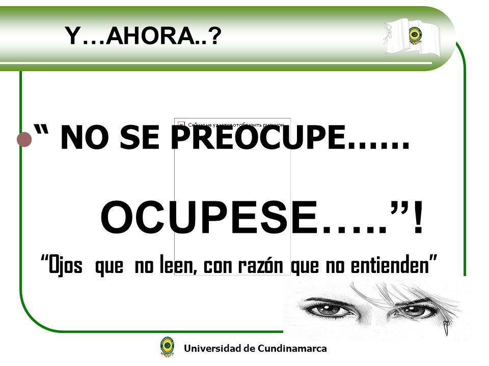 Universidad de Cundinamarca NO SE PREOCUPE…… OCUPESE…..! Y…AHORA..? Ojos que no leen, con razón que no entienden