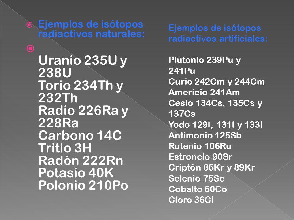 Ejemplos de isótopos radiactivos naturales: Uranio 235U y 238U Torio 234Th y 232Th Radio 226Ra y 228Ra Carbono 14C Tritio 3H Radón 222Rn Potasio 40K P