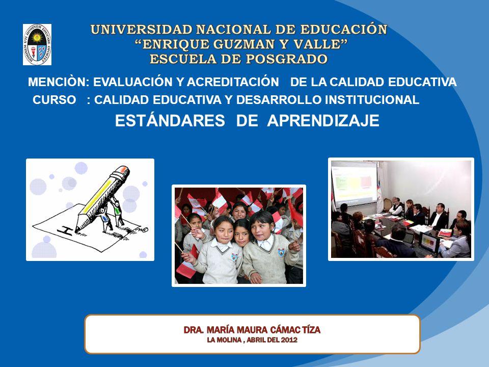 MENCIÒN: EVALUACIÓN Y ACREDITACIÓN DE LA CALIDAD EDUCATIVA CURSO : CALIDAD EDUCATIVA Y DESARROLLO INSTITUCIONAL ESTÁNDARES DE APRENDIZAJE