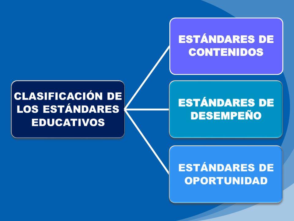 CLASIFICACIÓN DE LOS ESTÁNDARES EDUCATIVOS ESTÁNDARES DE OPORTUNIDAD