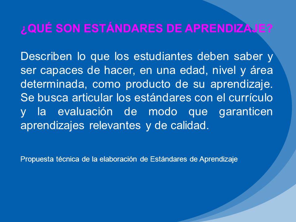 Propuesta técnica de la elaboración de Estándares de Aprendizaje ¿QUÉ SON ESTÁNDARES DE APRENDIZAJE.