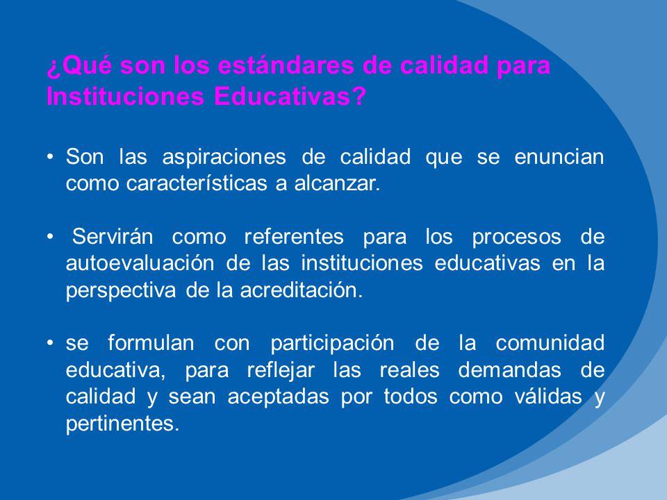 ¿Qué son los estándares de calidad para Instituciones Educativas.
