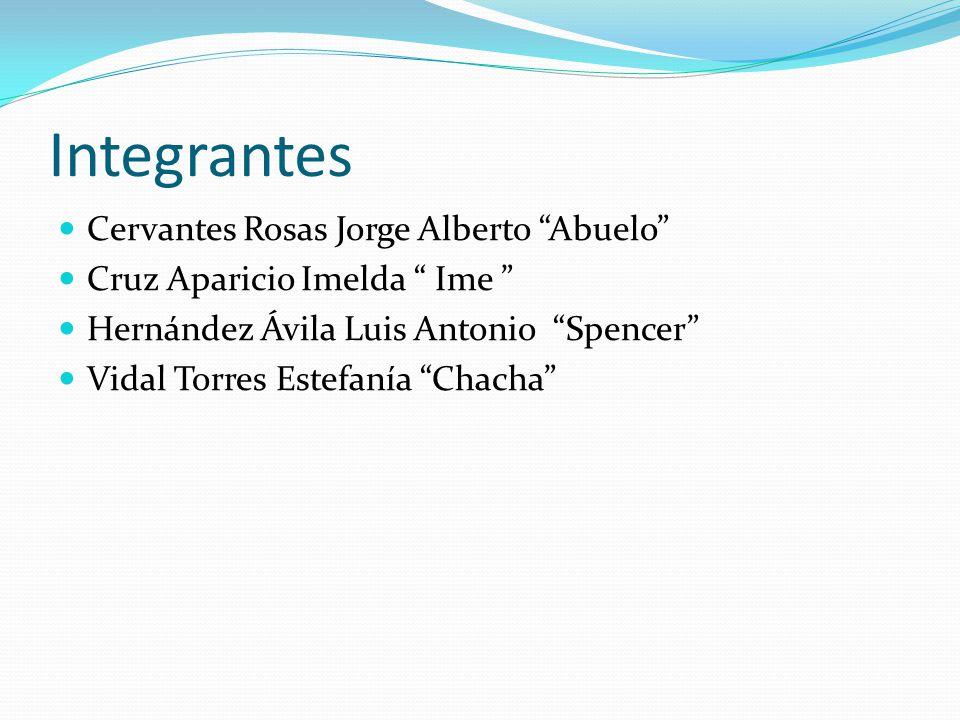 Integrantes Cervantes Rosas Jorge Alberto Abuelo Cruz Aparicio Imelda Ime Hernández Ávila Luis Antonio Spencer Vidal Torres Estefanía Chacha