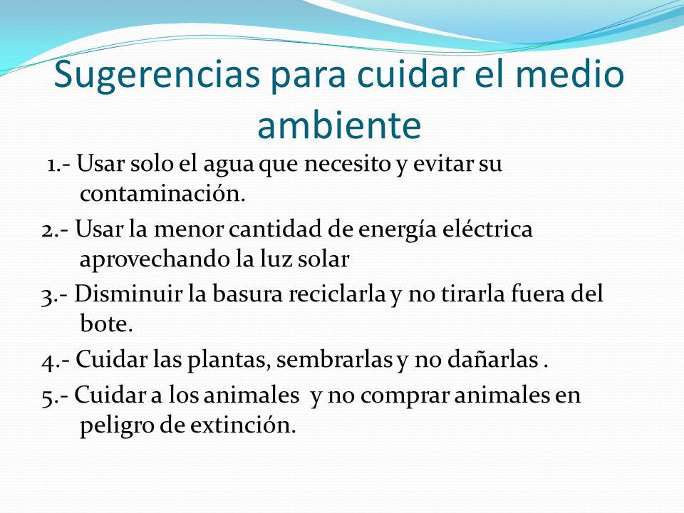Sugerencias para cuidar el medio ambiente 1.- Usar solo el agua que necesito y evitar su contaminación. 2.- Usar la menor cantidad de energía eléctric