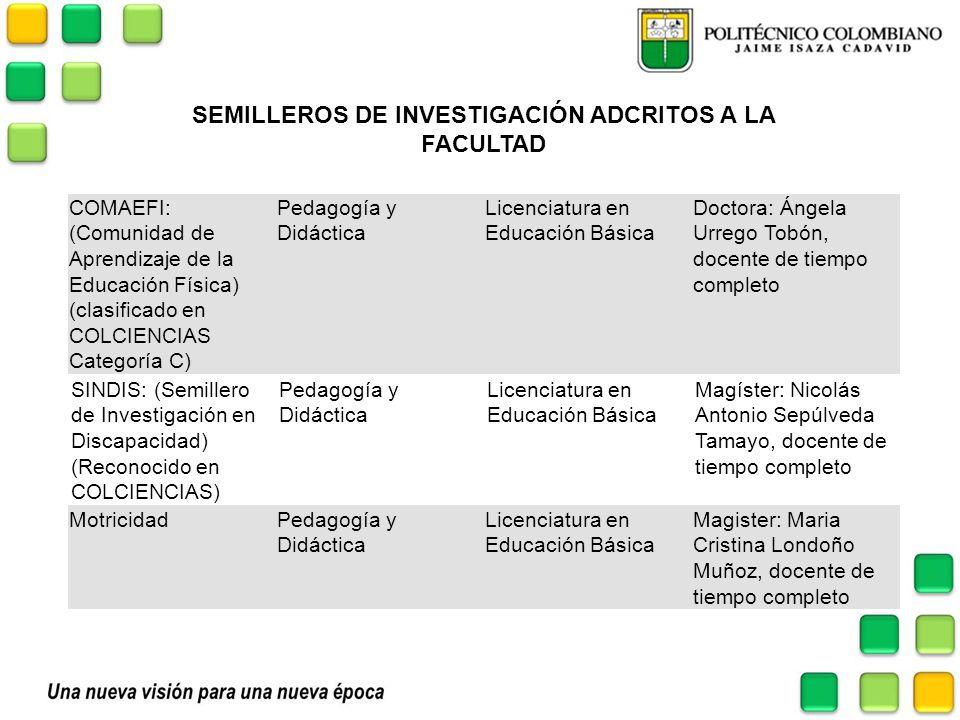 SEMILLEROS DE INVESTIGACIÓN ADCRITOS A LA FACULTAD COMAEFI: (Comunidad de Aprendizaje de la Educación Física) (clasificado en COLCIENCIAS Categoría C)