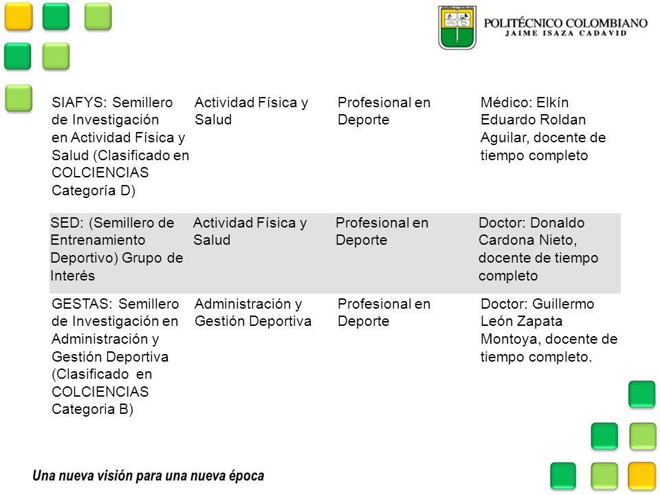 SIAFYS: Semillero de Investigación en Actividad Física y Salud (Clasificado en COLCIENCIAS Categoría D) Actividad Física y Salud Profesional en Deport
