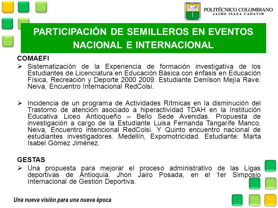 PARTICIPACIÓN DE SEMILLEROS EN EVENTOS NACIONAL E INTERNACIONAL COMAEFI Sistematización de la Experiencia de formación investigativa de los Estudiante