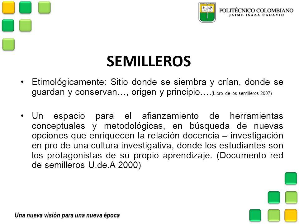 SEMILLEROS Etimológicamente: Sitio donde se siembra y crían, donde se guardan y conservan…, origen y principio…. (Libro de los semilleros 2007) Un esp
