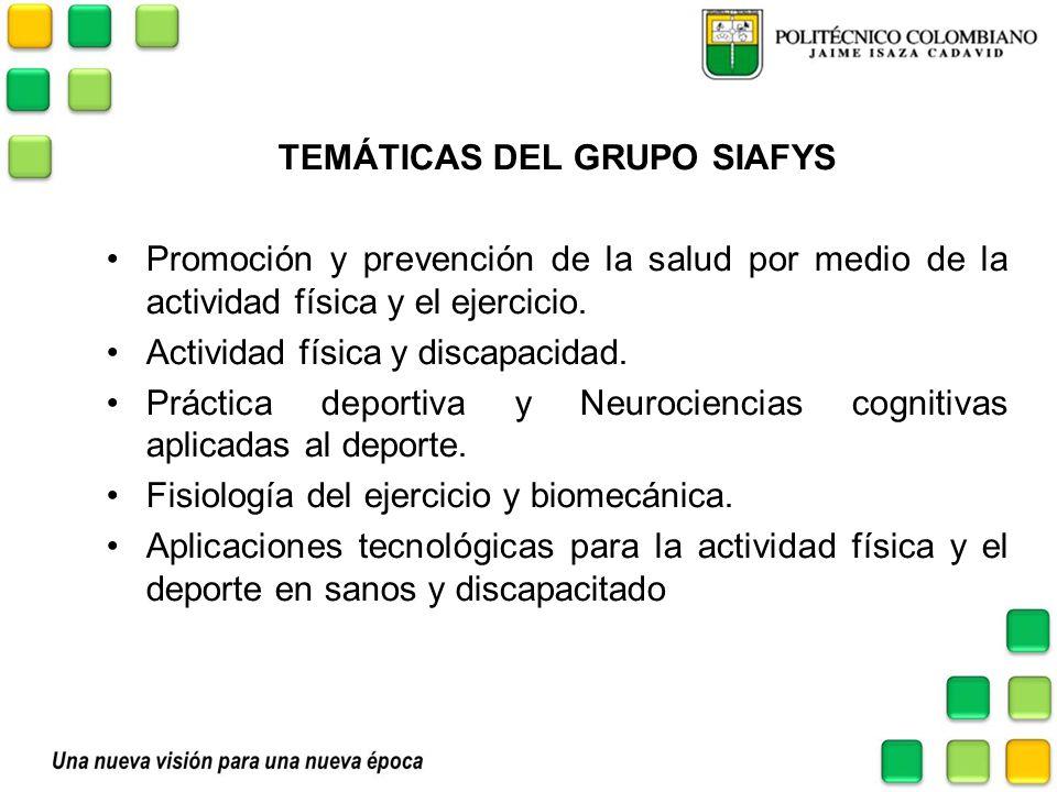 TEMÁTICAS DEL GRUPO SIAFYS Promoción y prevención de la salud por medio de la actividad física y el ejercicio. Actividad física y discapacidad. Prácti