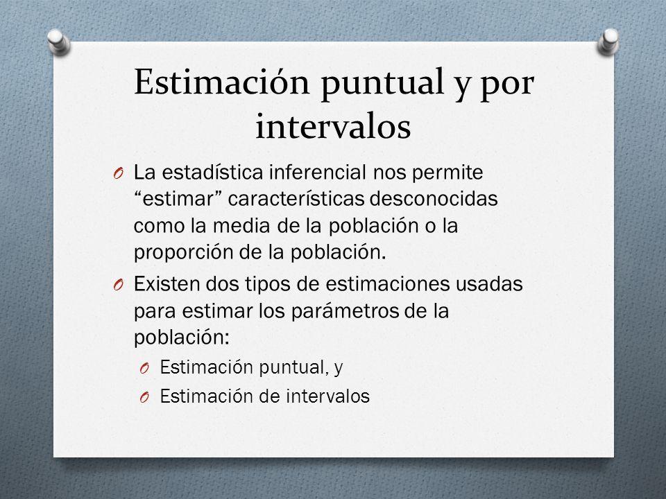 ESTIMACIÓN PUNTUAL O Es el valor de un solo estadístico de muestra.