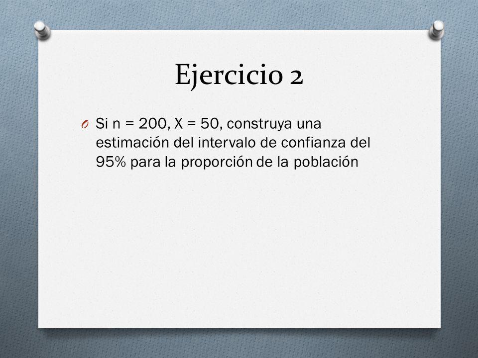 Ejercicio 3 O Si n=400, x =25, construya una estimación del intervalo de confianza del 99% para la proporción de la población